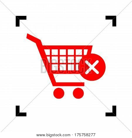 Shopping Cart with delete sign. Vector. Red icon inside black focus corners on white background. Isolated.
