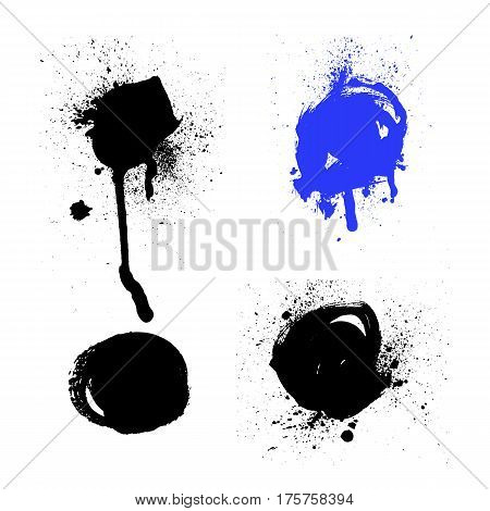 Vector set of black and white ink splash blots and brush strokes isolated on the white background. Series of vector splash blots brush strokes and elements for design.