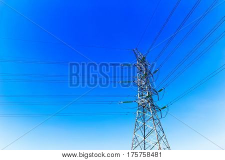 pylon with power cable in blue sky