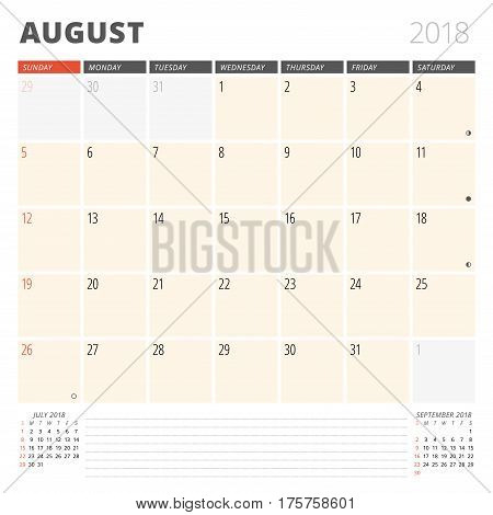Calendar Planner For August 2018. Design Template. Week Starts On Sunday. 3 Months On The Page