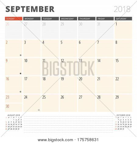 Calendar Planner For September 2018. Design Template. Week Starts On Sunday. 3 Months On The Page