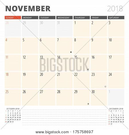 Calendar Planner For November 2018. Design Template. Week Starts On Sunday. 3 Months On The Page