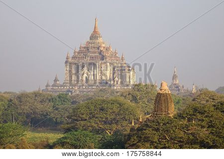 Buddhist Temples At Sunny Day In Bagan, Myanmar