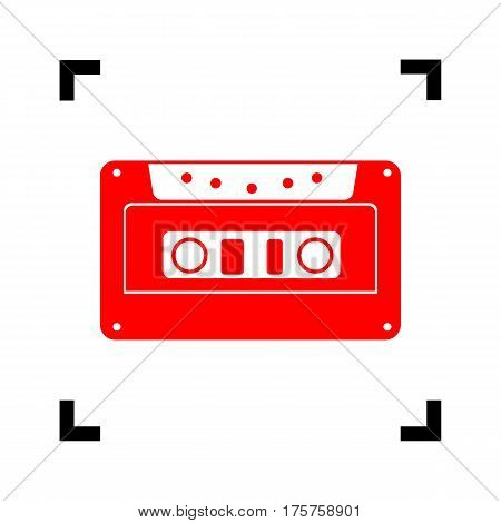 Cassette icon, audio tape sign. Vector. Red icon inside black focus corners on white background. Isolated.