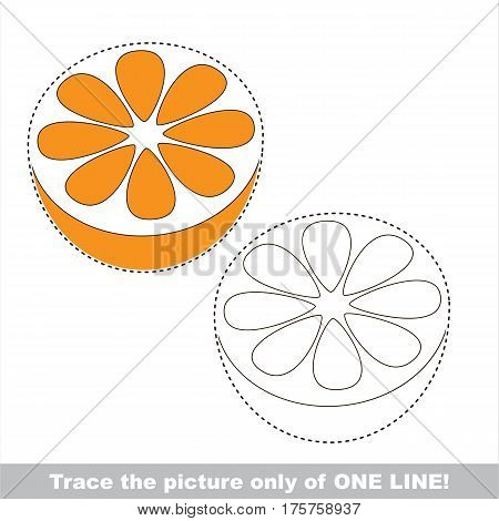 Orange Half to be traced only of one line, the tracing educational game to preschool kids with easy game level, the colorful and colorless version.