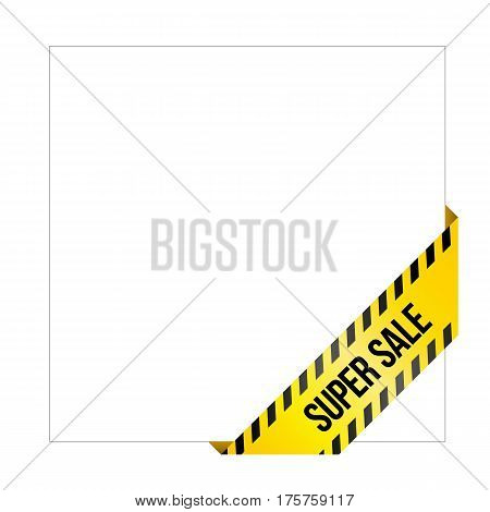 Yellow Caution Tape With Words 'super Sale', Corner Label