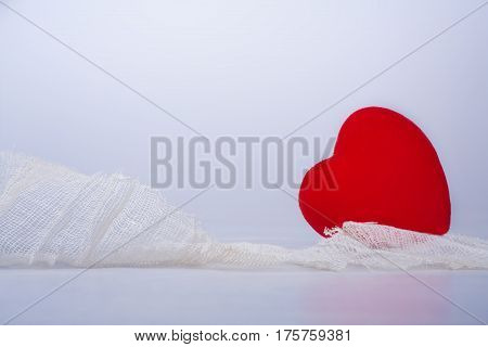 red hearts hurting protect with facia on white background