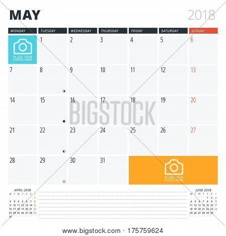 Calendar Planner For May 2018. Print Design Template. Week Starts On Monday. Vector Illustration. St