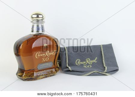 Spencer Wisconsin March11 2017 Bottle of Crown Royal XO Whisky Crown Royal originated in Canada in 1939