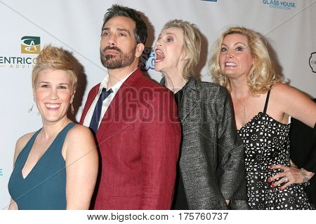 LOS ANGELES - MAR 7:  Kate Mines, Paul Witten, Jane Lynch, Suzanne Friedline at the