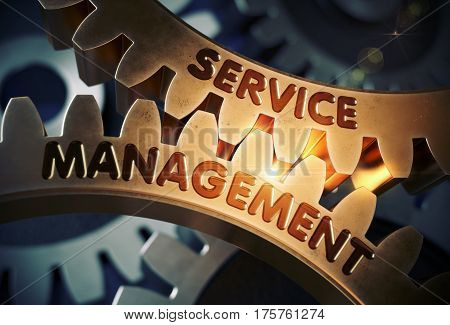 Service Management Golden Metallic Cog Gears. Service Management on the Mechanism of Golden Metallic Gears with Lens Flare. 3D Rendering.