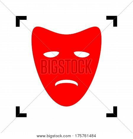 Tragedy theatrical masks. Vector. Red icon inside black focus corners on white background. Isolated.