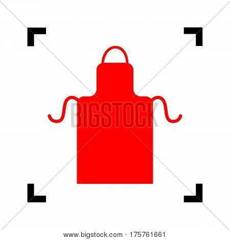 Apron simple sign. Vector. Red icon inside black focus corners on white background. Isolated.