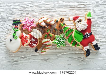 Delicious homemade christmas cookies on a white background.