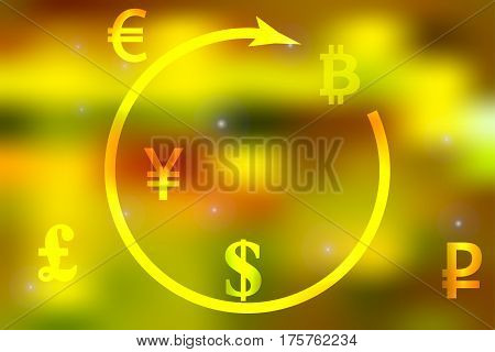 Vector illustration of a concept of currency exchange dollar, yen, pound, ruble, euro bitcoin on a bright light yellow background.
