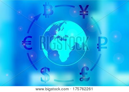 Vector illustration of a concept of currency exchange dollar, yen, pound, ruble, euro, bitcoin around the globe on a blue background.