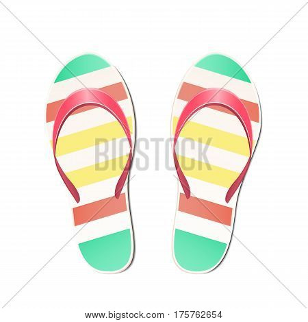 Beach slippers summer symbol. Beach slippers for traveling.