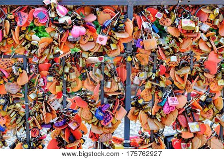 Bangkok, Thailand - January 9, 2016: Juliet Love Garden with its many Love padlocks in Asiatique The Riverfront. Locks of love symbolize love which will be locked forever. Selective focus