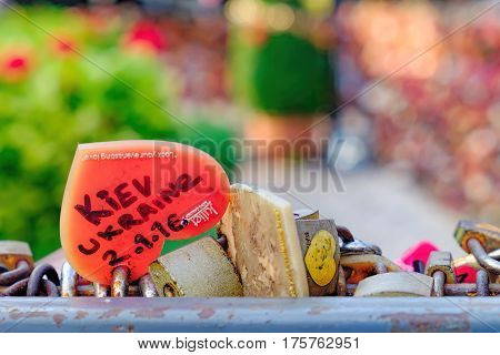 Bangkok, Thailand - January 9, 2016: Juliet Love Garden with its many Love padlocks in Asiatique The Riverfront. Locks of love with a large inscription in English: Kiev Ukraine. Selective focus
