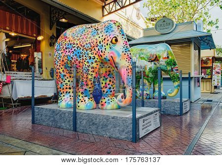 Bangkok, Thailand - January 9, 2016: Parade of elephants in Asiatique shopping mall. It hand painted by famous artists. After parade of elephant statues will sell at auction to help Asian elephants