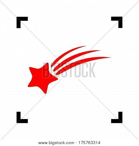 Shooting star sign. Vector. Red icon inside black focus corners on white background. Isolated.