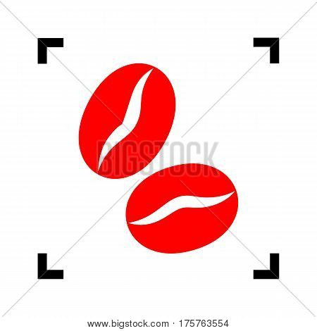 Coffee beans sign. Vector. Red icon inside black focus corners on white background. Isolated.