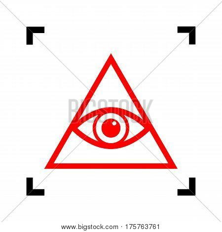 All seeing eye pyramid symbol. Freemason and spiritual. Vector. Red icon inside black focus corners on white background. Isolated.