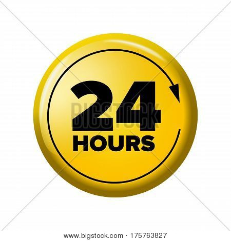 Bright Yellow Button With Words '24 Hours' And Arrow