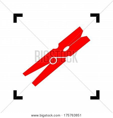 Clothes peg sign. Vector. Red icon inside black focus corners on white background. Isolated.