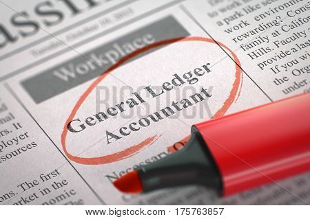 General Ledger Accountant. Newspaper with the Advertisements and Classifieds Ads for Vacancy, Circled with a Red Highlighter. Blurred Image with Selective focus. Hiring Concept. 3D.