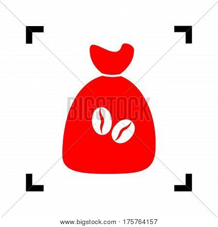 Coffee bag Icon. Coffee bag Vector. Coffee bag Icon Button. Vector. Red icon inside black focus corners on white background. Isolated.