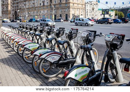 MOSCOW - AUGUST 19 2016: Bicycles at the rental station on Sadovaya-Chernogryazskaya street. The pilot project of urban bike rental started in 2013.