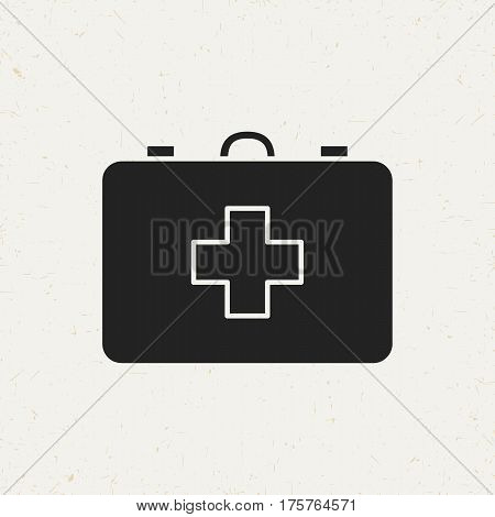 Flat monochrome first aid kit icon in vintage style. Isolated first aid kit icon for use in variety of projects. Black and white vector first aid kit icon for web sites and apps.
