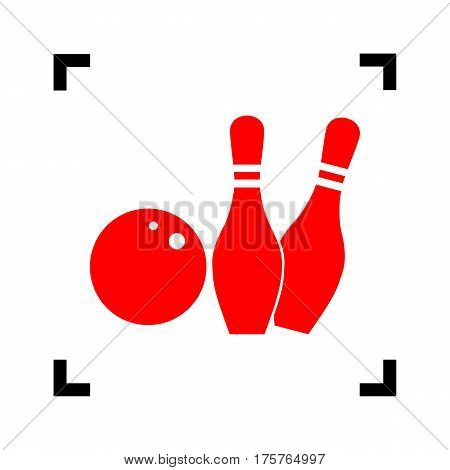 Bowling sign illustration. Vector. Red icon inside black focus corners on white background. Isolated.