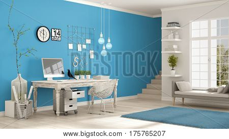 Home workplace scandinavian white and blue room corner office classic minimalist interior design, 3d illustration