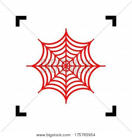 Spider on web illustration. Vector. Red icon inside black focus corners on white background. Isolated.