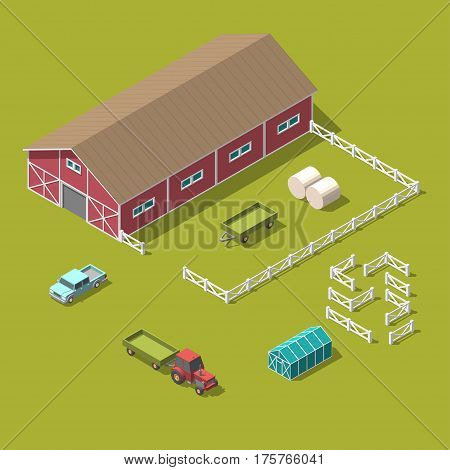 Traditional Vintage Red Farm. Vector isometric 3d illustration