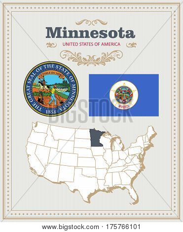 High detailed vector set with flag, coat of arms, map of Minnesota. American poster. Greeting card from United States of America. Colorful design