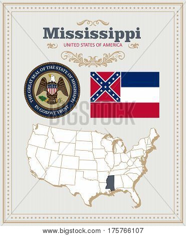 High detailed vector set with flag, coat of arms, map of Mississippi. American poster. Greeting card from United States of America. Colorful design