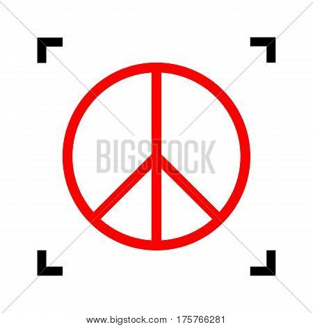 Peace sign illustration. Vector. Red icon inside black focus corners on white background. Isolated.