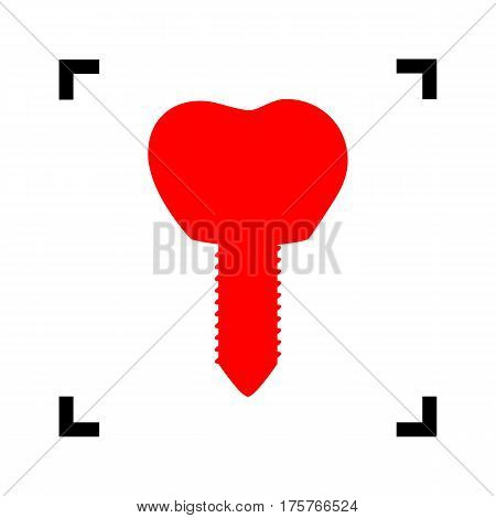 Tooth implant sign illustration. Vector. Red icon inside black focus corners on white background. Isolated.
