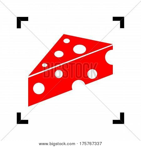 Cheese Maasdam sign. Vector. Red icon inside black focus corners on white background. Isolated.