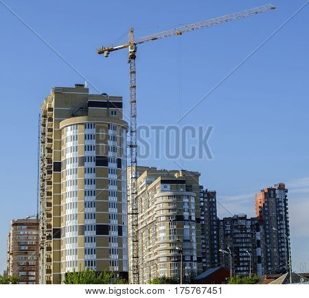 Group of high-rise buildings a semicircular shape and different color