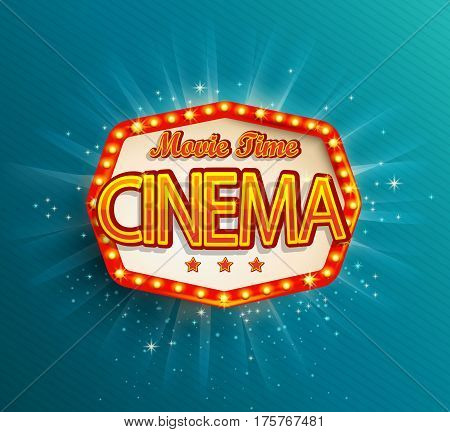 The Movie Time cinema text in the retro red frame vector illustration.