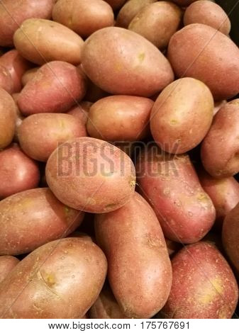 Fresh organic sweet potato stand out among many potato background in supermarket. Heap of potato root. Close-up potatoes texture