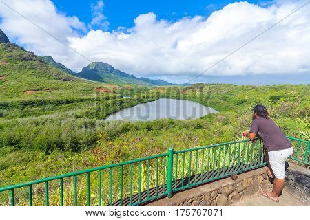 Historic Hawaiian Menehune Fishpond Overlook, Kauai island, Hawaii