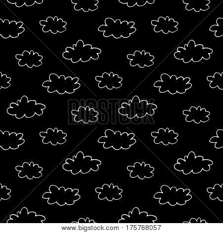 Cartoon sky pattern with hand drawn clouds. Cute vector black and white sky pattern. Seamless monochrome doodle sky pattern for fabric, wallpapers, wrapping paper, cards and web backgrounds.