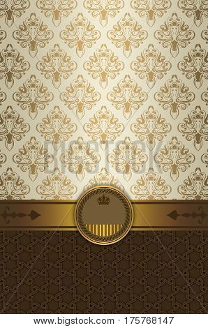 Vintage background with decorative golden borderframe and elegant patterns.