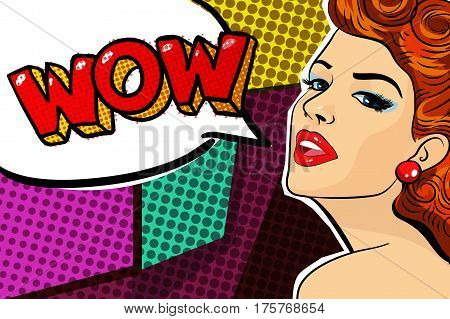 pop-art style illustration with attractive young girl on colorful trendy background