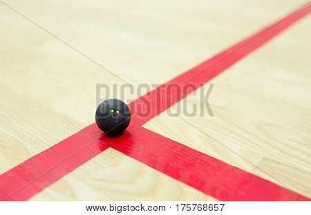 squash ball on the wooden background. Racquetball equipment. Squash ball on the court on the red line. Photo with selective focus